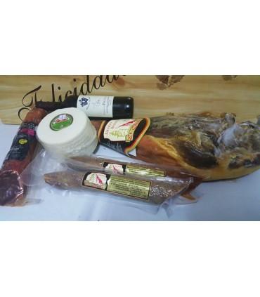 Cesta Paté, Miel, Vino, Lomo, Jamón, Salchichón y Chocolate