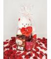 Detalle San Valentin: cava o vino, chocolates artesano y peluche
