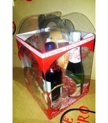 Caja regalo gourmet: loncheados ibéricos, aceite, queso, vino y paté