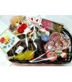 Cesta San Valentin 2: vino y accesorios, licor, chocolates, embutidos, pate, mermelada