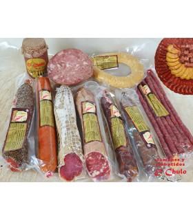 Cesta Sabores de Jaén: vino, aceite, salchichón, sobrasada, queso, paté, chocolate y miel